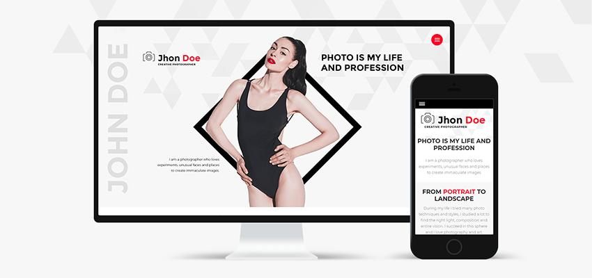 Jhon Doe - Photographer Portfolio WordPress Theme