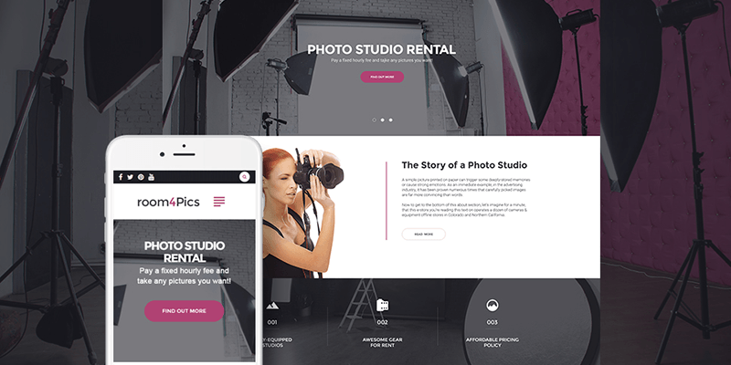 Room4Pics - Photo Studio Rental WordPress Theme